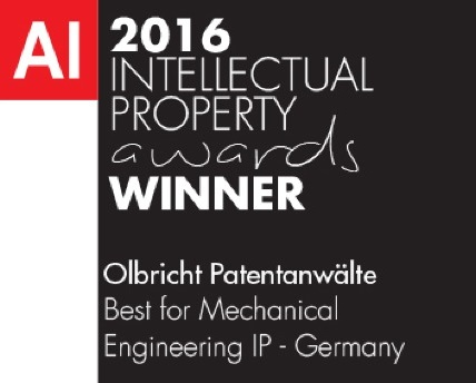 AI IP Awards 2016 Best for Mechanical Engineering IP